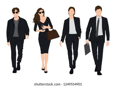 A vector graphic of young business man and women. They are confident ,wearing fashionable suit and walking toward the camera,Business people, group of men and women,wearing working outfit,standing in