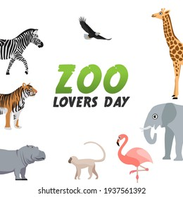 vector graphic of zoo lovers day good for zoo lovers day celebration. flat design. flyer design.flat illustration.