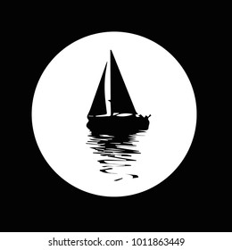 Vector. Graphical black representation of silhouette a sailboat. Stylized decorative image. Logo, symbol