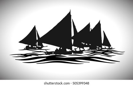 Vector. Graphical black representation of silhouette a sailboats. Stylized decorative image. Logo, symbol