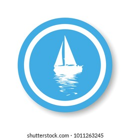 Vector. Graphical blue representation of silhouette a sailboat. Stylized decorative image. Logo, symbol