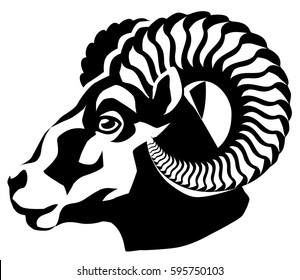 vector graphical illustration of a head of a horned ram. side view