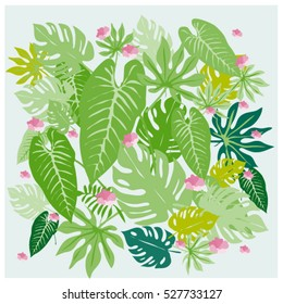vector graphical tropical leaves bright pattern with vibrant texture in pop art style, modern summer background allover print. split leaf, philodendron, monstera leaves