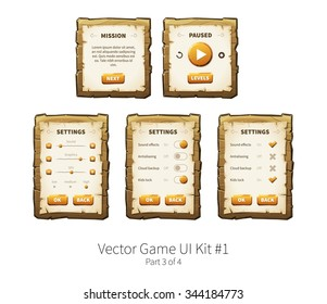 Vector graphical user interface (UI GUI) kit for 2d video games. Wooden menu, panels and buttons for menu.