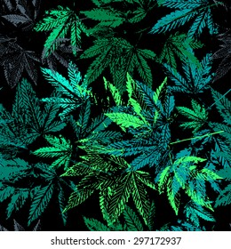 Vector graphics, artistic, stylized  seamless pattern with the image of the leaves of cannabis.Background can be used for fabric design, wallpaper, wrapping papers.