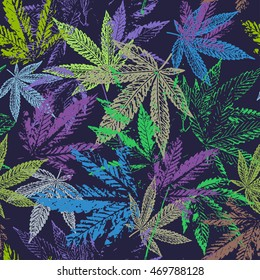Vector graphics, artistic, stylized  seamless pattern with the image of the leaves of cannabis. Pattern can be used for fabric design, wallpaper, wrapping papers.