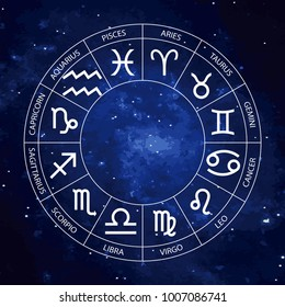 Vector graphics astrology set on the starry sky background. A simple geometric representation of the zodiac signs for horoscope with titles, line art isolated illustration