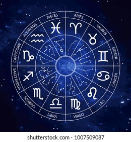 Vector graphics astrology set. A simple geometric representation of the zodiac signs and constellations for horoscope with titles, line art isolated illustration on the starry sky background