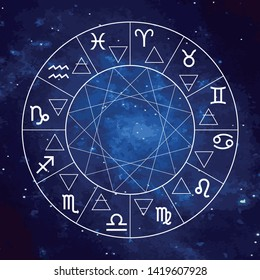 Vector graphics astrology set. A simple geometric representation of the zodiac signs and four elements in circle.  Isolated illustration  on the starry sky cosmic background. Ancient geometry