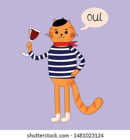 Vector graphics. Beautiful, cute, cartoon illustration of french cat in beret, scarf, blouse. Cat, which holds wine glass. Isolated illustration. Light blue background. Hand written text.