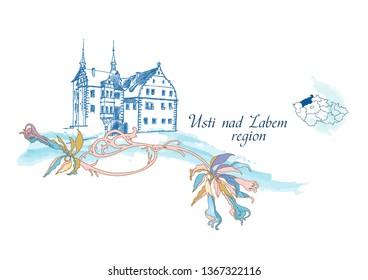 vector graphics Castle Benesov nad Ploucnici in the region of Usti nad Labem, Czech Republic, floral pattern