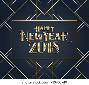 Vector graphics. with christmas and new year 2018. background with geometric patterns in the style of art deco. geometrical lines