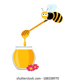 Vector graphics with a cute bee carrying a wooden honey spoon and a jar of honey