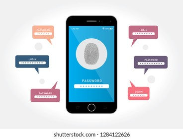 Vector graphics depicting a black smartphone with a data security system by a fingerprint.