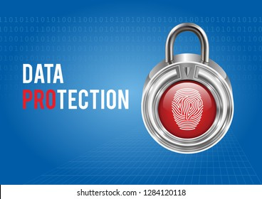 Vector graphics depicting a data security system using a fingerprint.