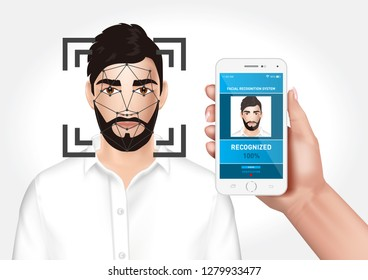 Vector graphics depicting the face recognition system integrated with the smarfon mobile application. Identification of a man's face.
