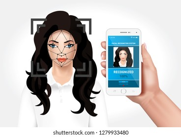 Vector graphics depicting the face recognition system integrated with the smarfon mobile application. Identification of a woman's face.