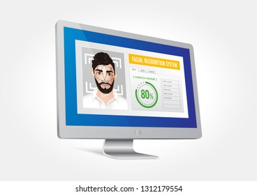 Vector graphics depicting the facial recognition system integrated on the monitor. Identification of the male face.