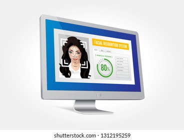 Vector graphics depicting the facial recognition system integrated with the monitor. Identification of a woman's face.
