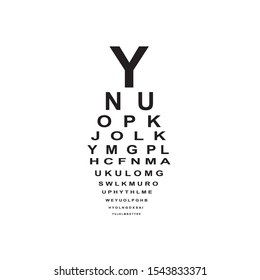 Vector graphics of eye chart test. Eye-testing medical device.