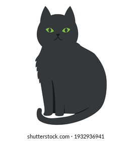 Vector graphics in flat style isolated on white background. Black cat with green eyes minimalistic icon symbol of failure and unhappiness hand drawn illustration.