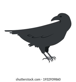 Vector graphics in flat style isolated on white background. Black raven with sharp claws minimalistic icon symbol of failure and unhappiness hand drawn illustration.