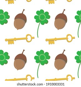 Vector graphics in flat style isolated on white background seamless pattern. Golden key, four leaf clover, acorn symbols of good luck and happiness. Hand drawn illustration.