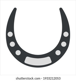 Vector graphics in flat style isolated on white background. Horse horseshoe minimalistic icon symbol of good luck and happiness, guardian from the evil eye illustration hand-drawn.