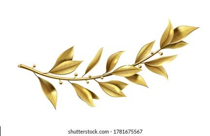 Vector graphics. Golden laurel branch is part of the winner wreath. Classic realistic template