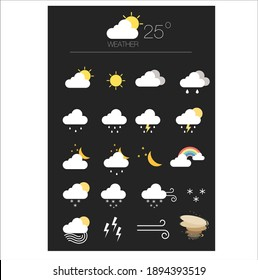 Vector graphics illustration of weather icon set
