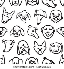 Vector graphics. Minimalistic illustration. Seamless pattern on a white background. Funny stupid dogs. Cartoon style freehand drawing.