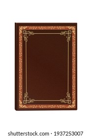 vector graphics mockup book in hardcover brown relief with gold figured embossing
