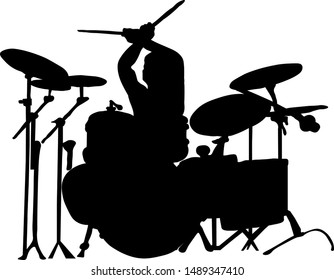vector graphics musician plays drums