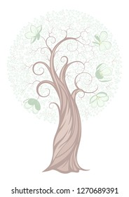 Vector graphics. Ornamental image of a blooming Apple tree.