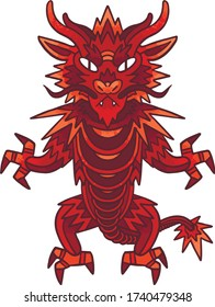 Vector graphics red asian dragon