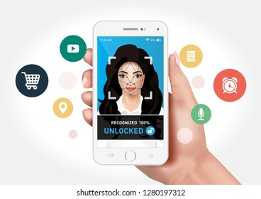 Vector graphics showing a hand holding a smartphone with face recognition system to unlock the application. Identification of a woman's face.