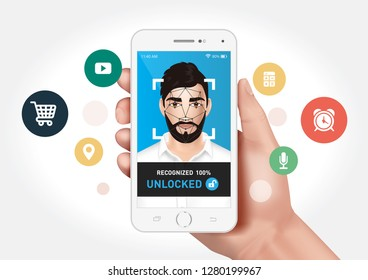 Vector graphics showing a hand holding a smartphone with face recognition system to unlock the application. Identification of a man's face.