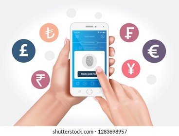 Vector graphics showing hands holding a smartphone with a fingerprinted banking application.