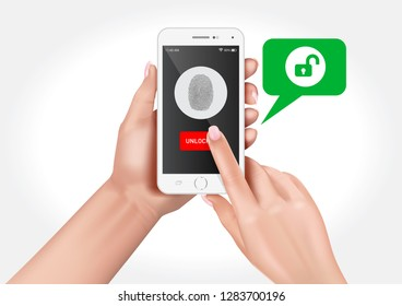 Vector graphics showing hands holding a smartphone with fingerprint protection.