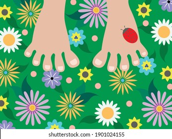 Vector graphics - two bare feet close-up on a green meadow with bright colorful flowers and a red ladybug on the leg. Concept-summer