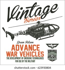 Vector Graphics and typography t-shirt design for apparel. Vintage War Series