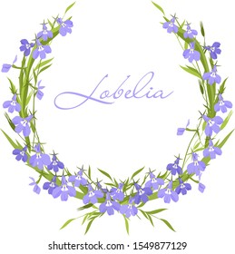 Vector graphics, a wreath of little  lilac and  purple flowers of Lobelia                   and green leaves. Mother's day greetings. Women's day postcard. Wedding card.