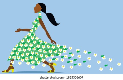 Vector graphics-a young beautiful dark-skinned female top model goes in a green dress with crumbling white flowers on a blue background and a copy space. The concept of summer.