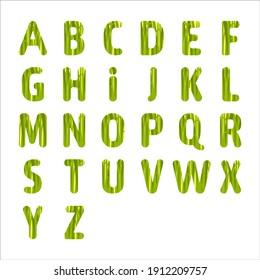 Vector grass alphabet. Green letters design.