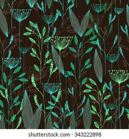 Vector grass seamless pattern. Illustration with herbs, botanical art