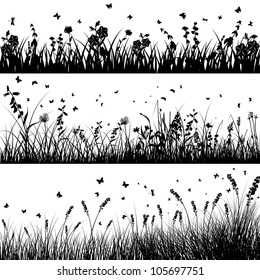 Vector grass silhouette background set. All objects are separated.