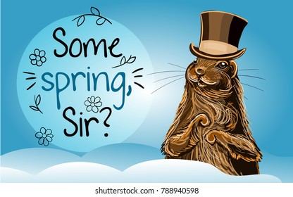 Vector Graundhog Day illustration. Hand drawn groundhog in cylinder hat with lettering.