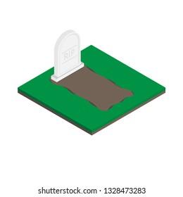 Vector gravestones Isometric icon on white background.