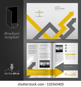 Vector gray brochure template design with arrows. EPS 10