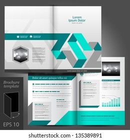 Vector gray brochure template design with blue elements. EPS 10